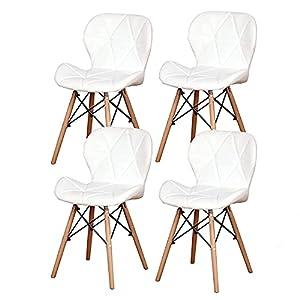 Questa sedia può essere utilizzata in ristoranti, cucine, balconi, caffè e altri luoghi. Il pacchetto include le istruzioni di installazione. Segui la procedura di installazione. La sedia da pranzo con rivestimento in ecopelle e rivestimento ha un de...