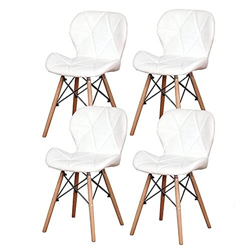 EGOONM Sedie da Pranzo Set di 4, Sedie Design Moderno con Gambe in Massello di Faggio, Sedie da Cucina Stile Nordico (Bianco)