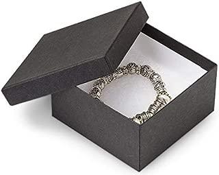 Black Matte Solid Color Jewelry Boxes - 3-1/2x3-1/2x1-7/8 Black Kraft Jewelry Box w/Non-tarnish Cotton (100 Boxes) - WRAPS-21BK