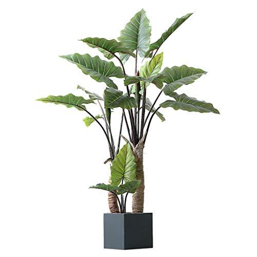 BOWCORE Grandes instalaciones de simulación del Arco Iris Taro Verde Decorativa en Maceta de 140 cm Artificial árbol Bonsai Tropical Planta Falsa decoración de Interior casero (Size : 140cm)
