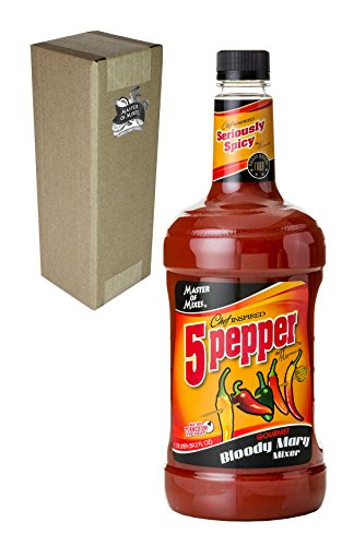 Master of Mixes 5 Pepper Extra Spicy Bloody Mary Drink Mix, Ready To Use, 1.75 Liter Bottle (59.2 Fl Oz), Individually Boxed