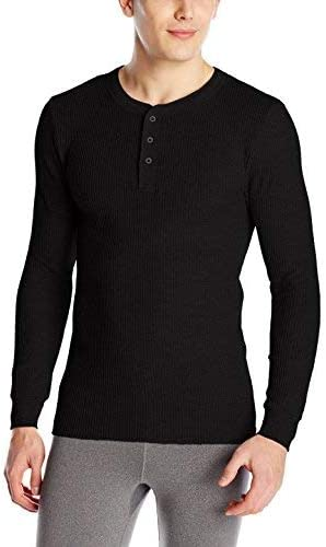 Fruit of the Loom Men's Classic Midweight Waffle Thermal Henley Top, Black Soot (2 Pack Bundle), Large