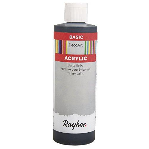 Rayher 38052576 Acrylic Basic Farbe, schwarz, Flasche 236 ml, auf Wasserbasis