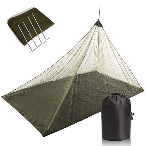 TOBWOLF - Mosquitera para camping, compacta y ligera, con estaca y bolsa de transporte, red de viaje al aire libre para sacos de dormir, cama, tienda de campaña, color verde militar