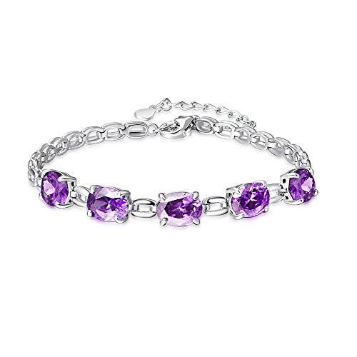 BONLAVIE Damen - 925 Sterlingsilber Sterling-Silber 925 Oval Purple Amethyst