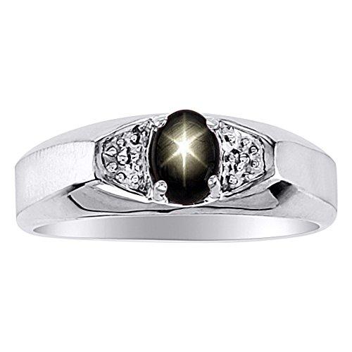 Negro Star Sapphire y anillo de diamante en 14K amarillo o 14K oro blanco