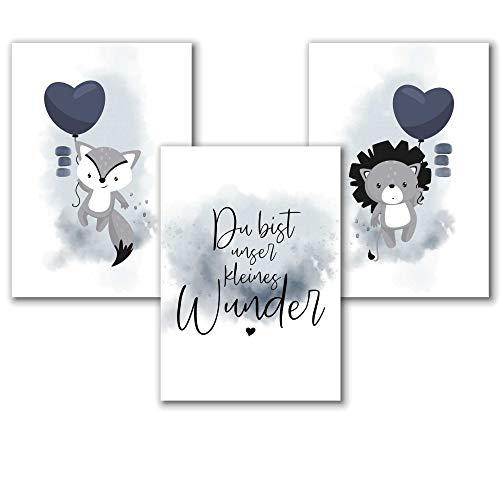 Aquarell Poster Kinderzimmer Jungen in Blau, Bilder Babyzimmer Tiere, Spruch Wunder, Löwe, Fuchs, Tierbilder, Kunstdruck, Kinderposter