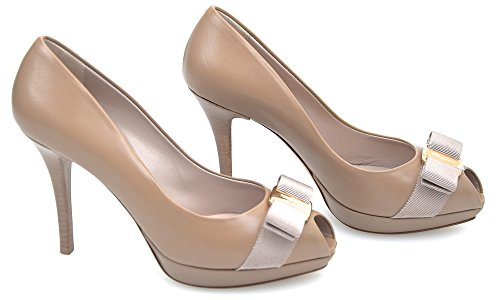 Salvatore Ferragamo Woman Open Toe Decolte Shoes Code GILIA 0494974 5 1/2 C Biscotto - Biscuit