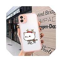 For iPhone 12 11 Pro Xs 8 7 6S Plus XS MAX XR SE2020用の素敵なかわいい灰色の猫の電話ケースILOVEUカップルの電話カバークリアケース-4-For iPhone 11
