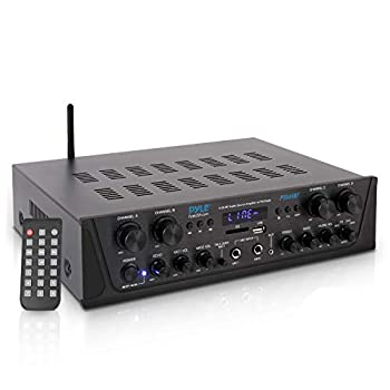500W Karaoke Wireless Bluetooth Amplifier - 4 Channel Stereo Audio Home Theater Speaker Sound Power Receiver with AUX IN FM RCA Subwoofer Speakers OUT USB Microphone IN with Echo - Pyle PTA44BT