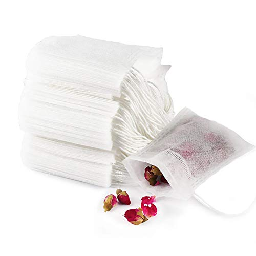 """GIYOMI Tea Filter Bags, Disposable Empty Tea Bags, Loose Leaf Tea Infuser, Safety and Environmental Food-Grade Drawstring Tea Bags, Set of 100(4"""" x 6"""" /10 x 15cm)"""