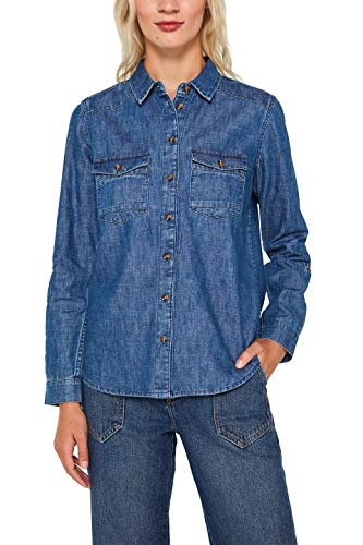 edc by ESPRIT Damen 099Cc1F004 Bluse, Blau (Blue Dark Wash 901), Large (Herstellergröße: L)