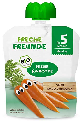 Freche Freunde Bio Beikost Gemüse Quetschie Feine Karotte, Babynahrung ab dem 5. Monat, glutenfrei & vegan, 490 g
