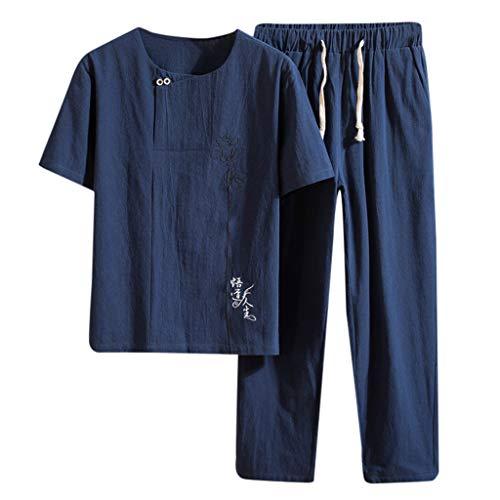 Yowablo Leinenhemd Herren Regular Fit Langarm Hemd Herren Button-down Sommer New Baumwolle und Hanf Kurzarm Langhose Mode Bequemer Anzug (L,Marine)