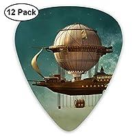 ギターピック 12枚セット スチームパンクな飛行船の妖精スターダストスペース それぞれ厚さ カラフル 3種類 0.46/0.71/0.96mm 収納ケース付 ティアドロップ型 Shape Guitar Picks ベース 練習 初心者