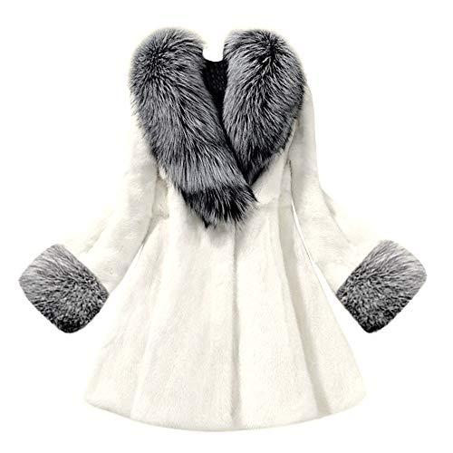 iHENGH Damen Herbst Winter Bequem Mantel Lässig Mode Jacke Frauen Langer Abschnitt des nachgemachten Nerz Fox Mantels mit Kappen Pelzmantel