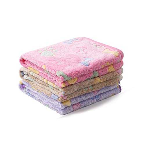 1 Pack 3 Blankets Super Soft Fluffy Cute Bone Pattern Pet Blanket Flannel Throw for Dog Puppy Cat Pink/Brown/Purple Small