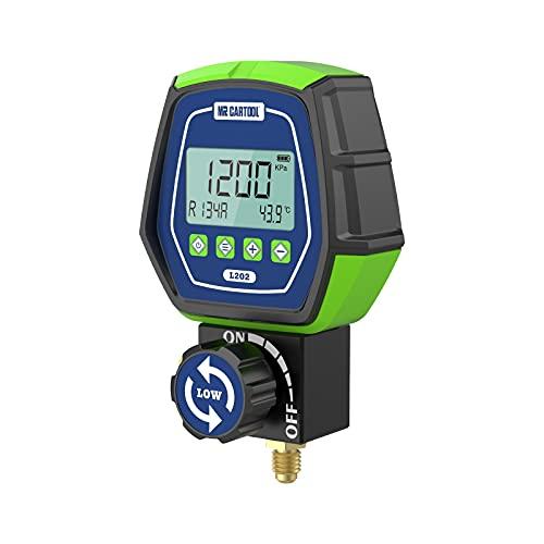 MR CARTOOL L202 Digital Manifold Gauge Set Low Pressure Single Meter Refrigerant HVAC Systems Leakage Tester Tool for Air Conditioning Heat Pumps