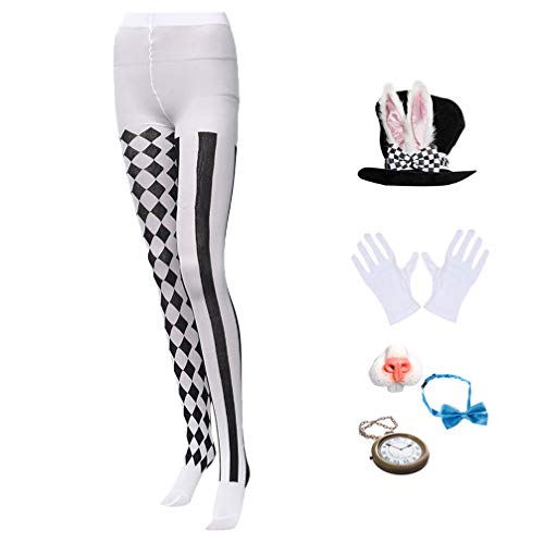PRETYZOOM Conjunto de Disfraz de Conejito de Pascua Sombrero de Copa de Conejo Blanco Guantes Pantalones de Pajarita Disfraz de Conejito Disfraz Accesorios de Vestir para El Escenario
