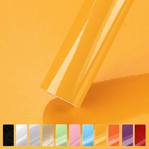 iKINLO Möbelfolie Selbstklebende Klebefolie, 0,61 * 5M Gelb Küchenschrank Aufkleber mit Glitzer Tapete für Möbel Schrank Tische Wand Folie Dekofolie