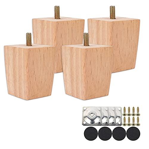 4 patas modernas de madera maciza, patas rectas de roble macizo con placas de metal, como mueble de repuesto para cama, 60 mm, color beige