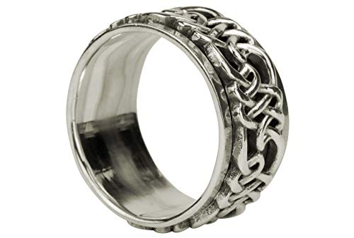 SILBERMOOS Herren Ring Bandring mit drehbaren Ornamenten geschwärzt 925 Sterling Silber, Größe:70 (22.3)