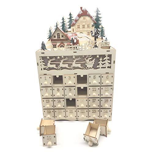 Sweo - Calendario de adviento de madera con 24 cajones con luz LED para decoración navideña