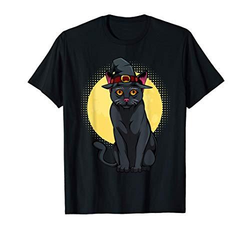 Gato negro Gorro de bruja Luna Animal de Halloween Gatito Camiseta