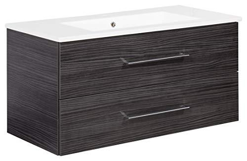 FACKELMANN Waschtischunterschrank inkl. Keramikbecken B.PERFEKT/Soft-Close-System/Maße (B x H x T): ca. 103 x 51 x 48 cm/Waschbeckenunterschrank & Waschtisch/Schrank: Schwarz/Becken: Weiß