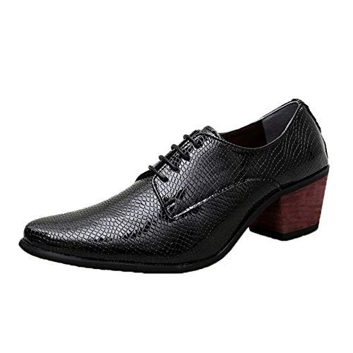 Zapatos Derby para Hombre, Zapatos Formales de tacón Alto, Zapatos de Cuero...