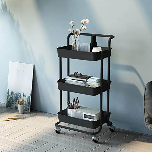 F&R 3-Tier Rolling Utility Cart with Handle, Metal Storage Cart with Mesh Baskets and 360° Lockable Wheels, Roller Cart Organizer and Storage for Makeup, Bathroom, Kitchen, Office,Black
