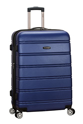Rockland Melbourne Hardside Expandable Spinner Wheel Luggage, Blue, Checked-Large 28-Inch
