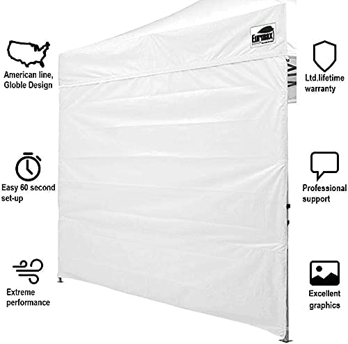 Eurmax Instant SunWall for 10x10 Gazebo Pop up Canopy, Canopy Walls 10x10,Outdoor Instant Canopies, Removable Zipper End, 1 Pack Sidewall Only (White)