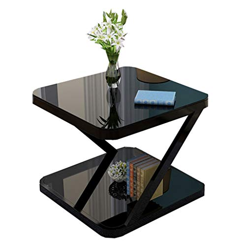 LUOL- Double-layer Tempered Glass Square Small Side Table, Solid Cast Iron Frame, Modern Sofa Table, Small Corner Table, Bedside Table
