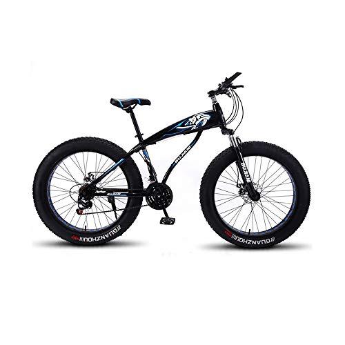 GYZLZZB Hollow Rim Cross-Country Beach Snowmobile 26' Mountain Bikes,7 Speed Bicycle,Adult Fat Tire Mountain Trail Bike,Aluminium Alloy Frame Dual Full Suspension Dual Disc Brake(Black and Blue)