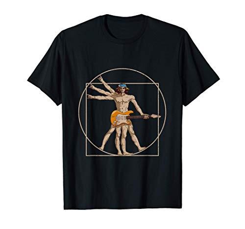 Vitruvian Man Guitar Shirt Da Vinci Guitarist USA Rock Gift Camiseta