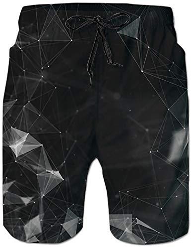 Loveternal Geometrie Badehose für Herren Wolf Badeshorts Herren 3D Printed Beach Shorts Sommer Shorts mit Seitentaschen L