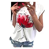 iHENGH Damen Top Bluse Lässig Mode T-Shirt Frühling Sommer Bequem Blusen Frauen Women Girls Plus Size Print Tees Shirt Short Sleeve T-Shirt Blouse Tops (Weiß, 2XL)