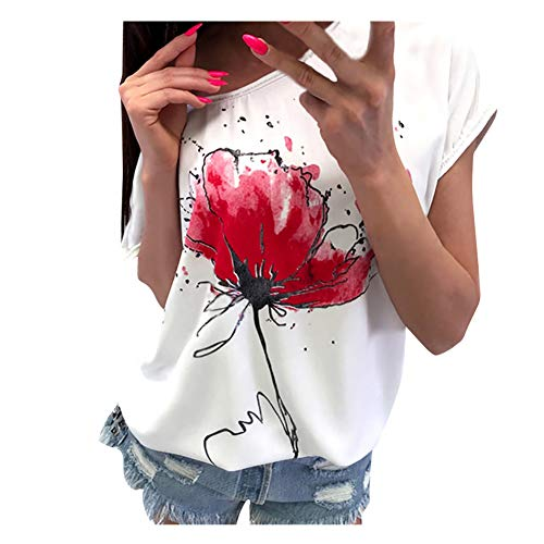 iHENGH Damen Top Bluse Lässig Mode T-Shirt Frühling Sommer Bequem Blusen Frauen Women Girls Plus Size Print Tees Shirt Short Sleeve T-Shirt Blouse Tops (Weiß, L)