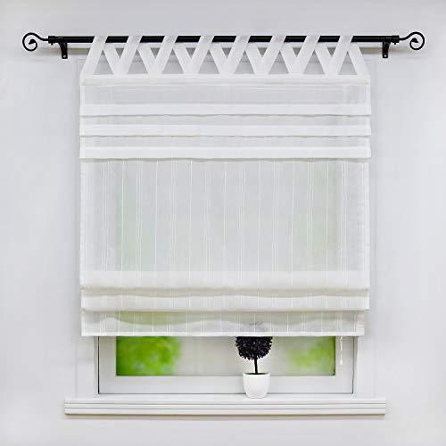 """Joyswahl Estor semitransparente con aspecto de lino, estor con trabillas en V """"Tilla"""", 120 x 140 cm, color blanco"""