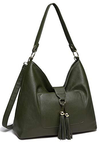 Handbag for Women, VASCHY SAC PU Leather Hobo Bag Fashion Tassel Tote Shoulder Bag with Detachable Long Shoulder Strap (Dark Green)