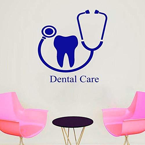 Abkbcw Calcomanías de Cuidado bucal para clínicas dentales Pegatinas de Pared de Vidrio de PVC para clínicas dentales calcomanías Decorativas 59x57 cm
