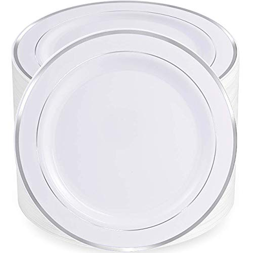 80pcs Plastic Silver Plates, 9' Party Pack Plastic Lunch Plates, Plastic Plates for Dinner Party or Wedding, 23cm Plastic White Plates with Silver Trim,Supernal (9' silver plates)
