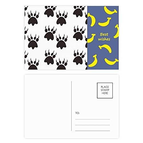 Dierlijke Klauw Silhouette Eenvoudige Stap Print Banaan Ansichtkaart Set Thanks Card Mailing Zijde 20 stks