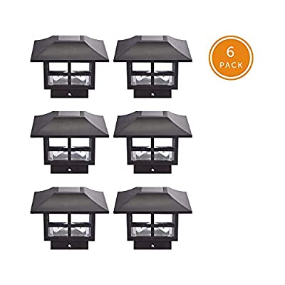 NOMA Solar Post Lights | Waterproof Outdoor Cap Lights for 4 x 4 Wooden or Vinyl Posts, Deck, Patio, Garden, Décor or Fence | Warm White LED Lights, 6-Pack