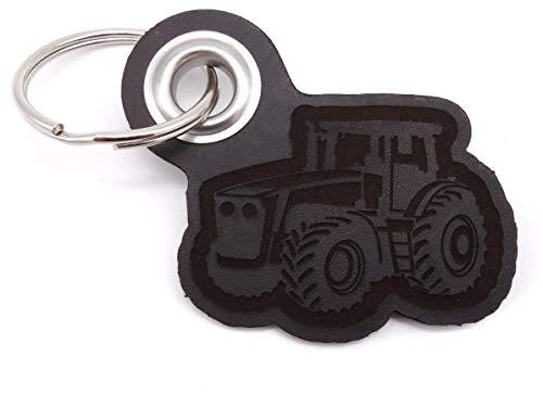 Samunshi® Leder Schlüsselanhänger mit Gravur Trecker Geschenke Made in Germany 6,5x5,8cm dunkel braun/graviert