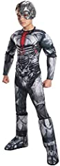Deluxe Justice League Cyborg muscle chest costume jumpsuit with attached 3D gauntlets and boot tops; mask included Important: costumes are sized differently than clothing, important to consult rubie's child's size chart and recent Reviews to make bes...