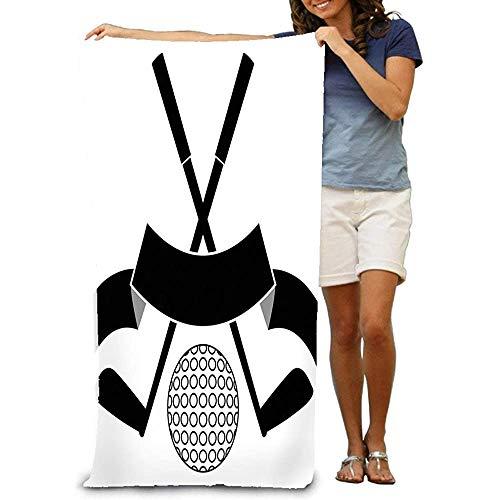 Yocmre Badhanddoeken Zwemmen Camping Handdoek, Zwart ed Golf Ball Logo Geïsoleerde Wit Dromerige