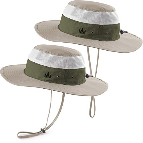 The Friendly Swede Outdoor Buschhüte 2 Stück - ideal als Sonnenhut, Safarihut, Outdoor Hut, Fischerhut, Anglerhut, Gartenhut, Campinghut für Damen, Herren und Kinder (Multi-Khaki)