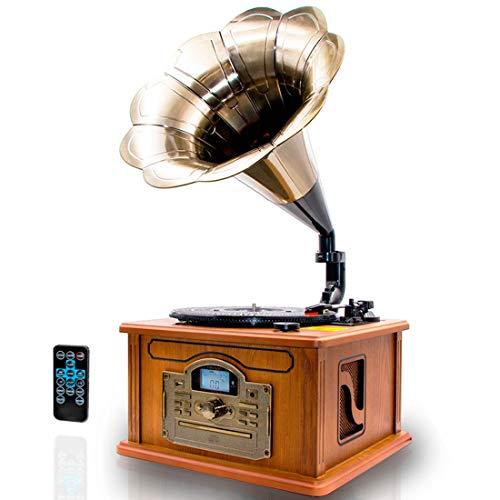 Lauson CL147 Grammophon met Bluetooth, Vinyl Platenspeler Retro met Cd-Speler, Radio, Mp3, Usb, 3 Snelheden en Ingebouwde Speaker, Vintage Platespeler (Hout)